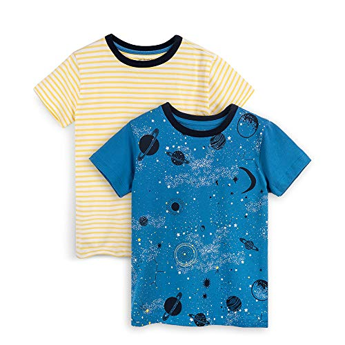 Mightly Kids Clothing - Galaxy Shirts for Girls and Boys, Organic Cotton, 2T, Pack of 2 Blue, Yellow