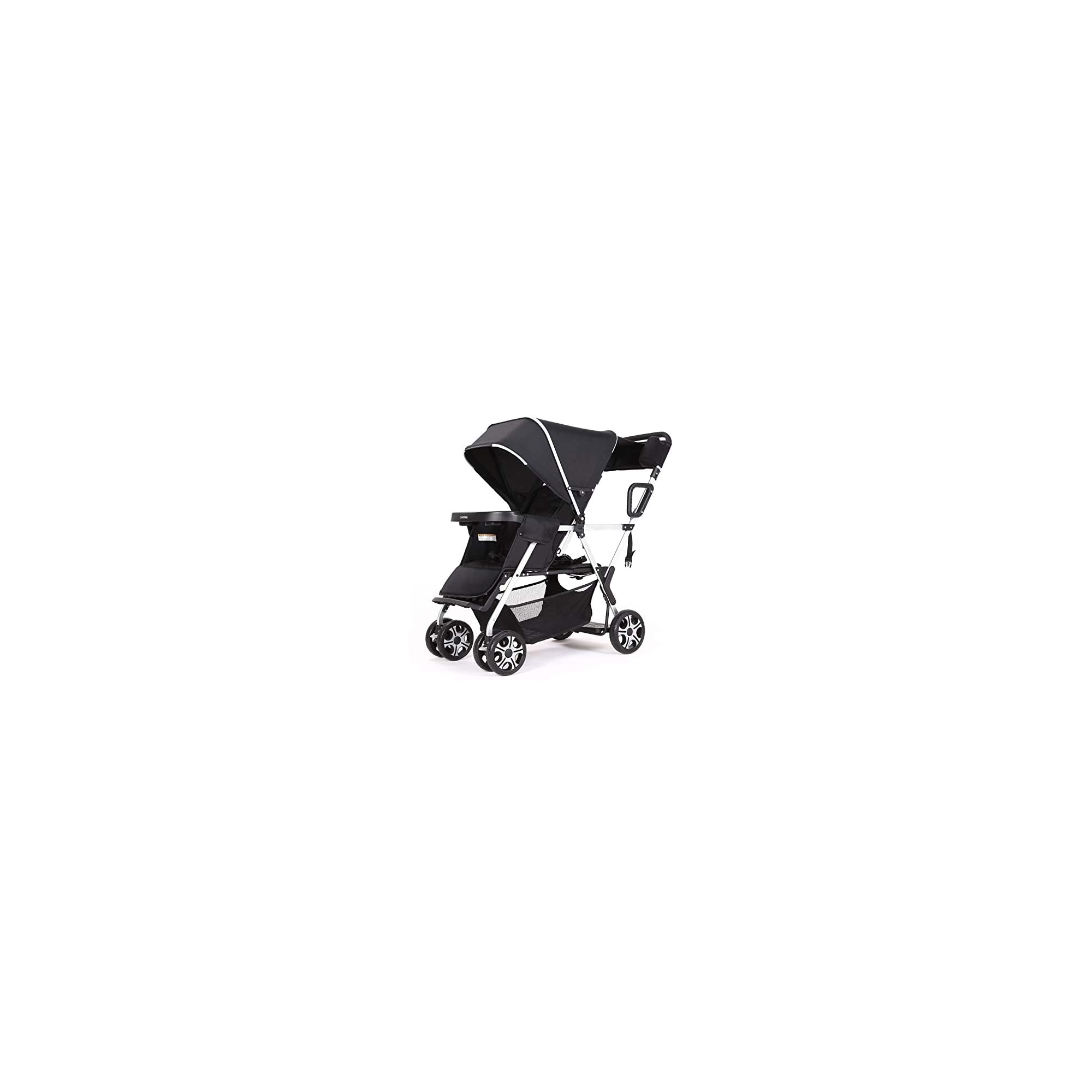Double Stroller Convenience Urban Twin Carriage Stroller Tandem Collapsible Stroller All Terrain Double Pushchair for Toddler Girls and Boys Stable Stroller Frame with Bag Organizer (Oxford Grey)