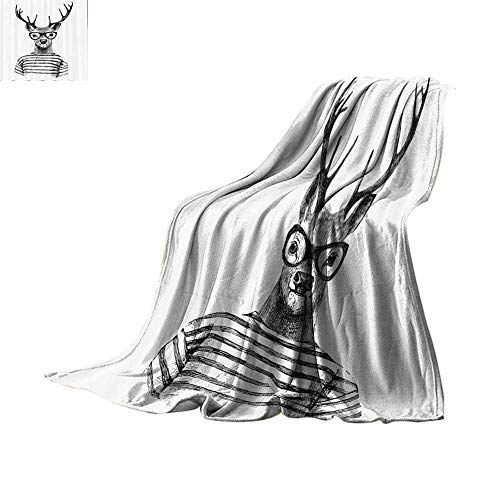 (Custom homelife Throw Blanket Deer Decor Collection,Dressed Up Deer Reindeer Headed Human Hipster Style with Glasses Striped Shirt Design,Black White Plush Throw Blanket Bed or Couch)