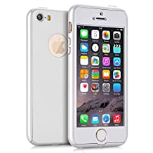 iPhone 5S Case, KAMII Ultra Thin Full Body Coverage Protection 360 Degree All-round Protection Hard Slim Case for iPhone 5S with Tempered Glass Screen Protector (White)