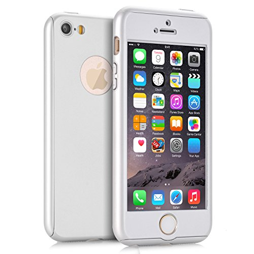 iPhone 5 Cases, iPhone 5S Case, iPhone SE Case, VPR 2 in 1 Ultra Thin 360 Full Body Protection Hard Premium Luxury Cover Shock Absorption Skid-proof PC Case for for Apple iPhone 5 5S SE (Silver) (Pokemon Gold And Silver 2 In 1)