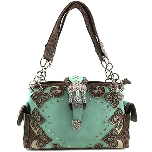 Justin West Western Purse Tooled Laser Cut Floral Design Studs Rhinestone Buckle Concealed Carry Handbag (Teal)
