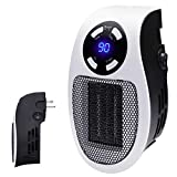 Handy Wall-Outlet Space Heater, Plug-in Ceramic Mini Heater Portable with Timer and LED Display for Office Home Dorm Room, 350-Watt ETL Listed for Safe Use