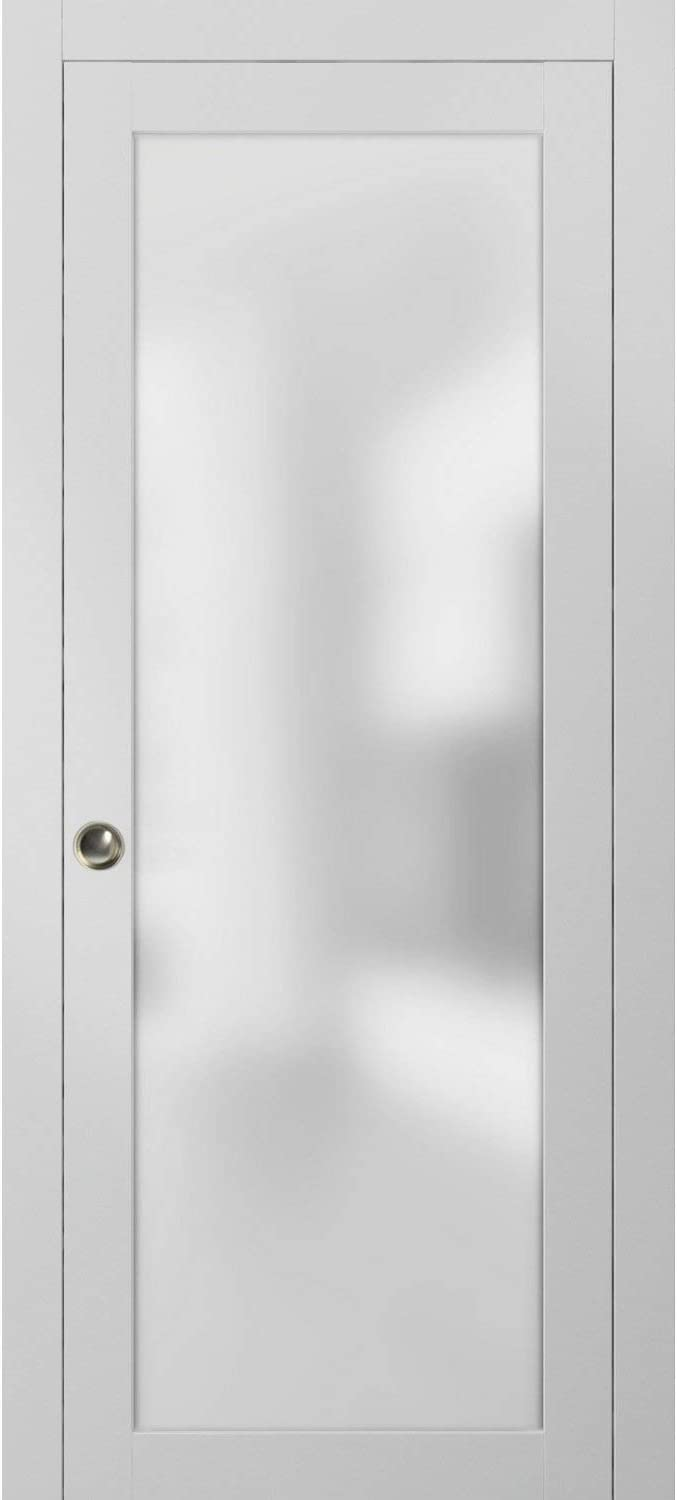 Frosted Glass Pocket Door 32 x 80 inches | Planum 2102 White Silk | Sturdy Heavy Frames Trims Pulls Track Hardware Set | Bedroom Bathroom Solid Wood Interior Slide Closet Panel |