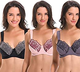 Plus Size Unline Minimizer Underwire Bra with Embroidery Lace-3Pack