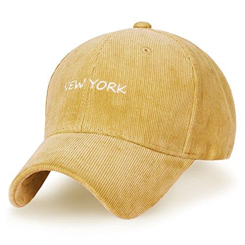 ililily Solid Color Baseball Cap Strapback Corduroy NY Embroidered Trucker Hat, Topaz ()