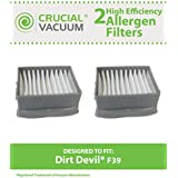 2 High Efficiency Dirt Devil Style F39 Allergen Filters; Fits Dirt Devil Gator Cordless Hand Vacuums; Compare to Dirt Devil Part No. 2DT0880000; Designed & Engineered by Think Crucial