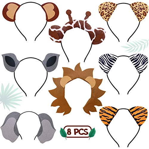 CiyvoLyeen Jungle Safari Zoo Animals Headbands Birthday Party Favor Monkey Rhinoceros Elephant Lion Giraffe Tiger Zebra Leopard Hair Hoop for Kids Adults ()