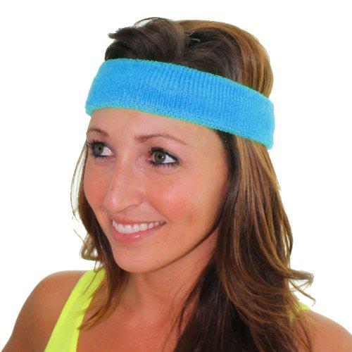 Extreme 80's Neon Blue Headband Unisex-Adult