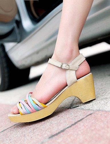 LFNLYX Zapatos de mujer-Tacón Robusto-Punta Abierta-Sandalias-Casual / Vestido-PU-Azul / Morado / Beige Blue