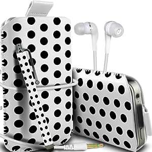 Samsung Galaxy S3 i9300 Protección Premium Polka PU ficha de extracción Slip In Pouch Pocket Cordón piel cubierta de la caja de liberación rápida, Stylus Pen & 3.5MM Auriculares Auriculares Auriculares Blanco y Negro por Spyrox