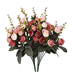Houda Artificial Silk Fake Flowers Rose Floral Decor Bouquet,Pack of 2 (Pink Coffee) 20