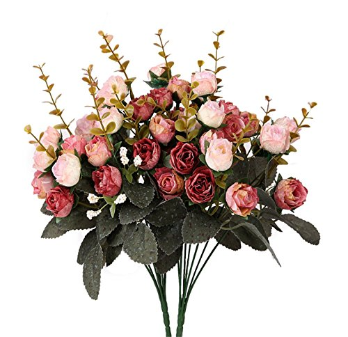 Houda Artificial Silk Fake Flowers Rose Floral Decor Bouquet,Pack of 2 (Pink Coffee)