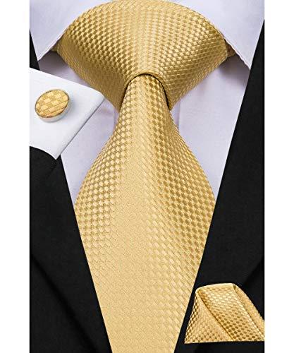 Dubulle Gold Ties for Men Necktie and Hankerchief Cufflinks - Gold Necktie