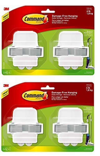 Command 08358002331 Broom Gripper, White with Grey Band, 4-Pack