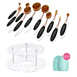 Docolor 10pc Oval Makeup Brush Set with Brush Holder Cosmetic Storage Organizer and Cleaner Tool (Golden Update with Holder)