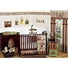 Sweet Jojo Designs Monkey Animal Jungle Safari Baby Boy Bedding 11pc Boys Crib Set without bumper