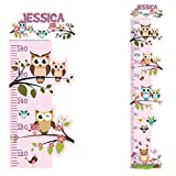 OWL Personalised Height Chart for Kids Wall Sticker Growth Decal Vinyl Pink Girls Boys Childrens Nursery   Colourful Wall Art for Height Measure   StickersMagic