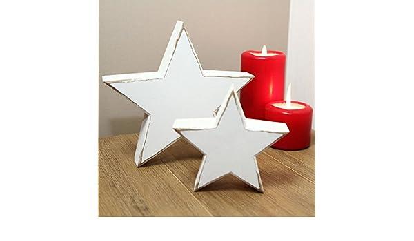 Home Things Juego Madera Estrella decoraci/ón vintage shabby blanco