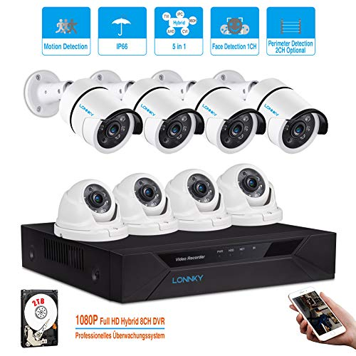 Cheap LONNKY Video Security Cameras System, 8CH Full HD 1080P CCTV DVR Recorder Surveillance Camera System with 2TB HDD, 8 x 2.0MP Weatherproof Outdoor Security Cameras (4 Bullet Camera + 4 Dome Camera)
