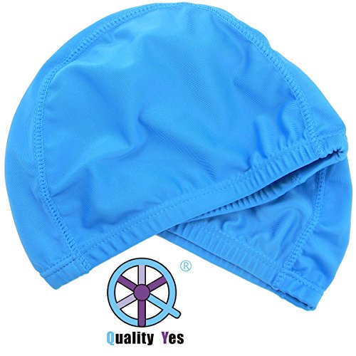 QY 2Pack Superior Polyester Cloth Fabric Bathing Cap Swimming Caps Swimming Hats for Water Sports,Sky Blue Color