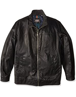 Men's Tall Size Lamb Touch Faux Leather Stand Collar Jacket