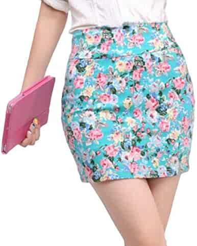 f7237f1ffec3de AngelSpace Women's Fashion Stretchy Fabric A-line Comfort Slim Short Skirt