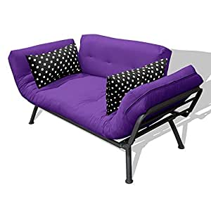 American Furniture Alliance Modern Loft Collection Futon Mali Flex Combo, Purple/Black Polka Dot