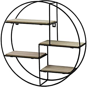 Black Metal Wall Mounted Multi Shelf Storage Organiser Unit Display Rack – Round