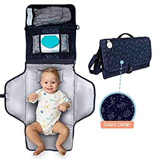 Waterproof, Portable Diaper Changing Pad – Changing Mat with Baby Wipes Pocket + 2 More, Shoulder & Baby Stroller Straps, Built-in Memory Foam Pillow – Newborn Essentials by Baby Orbit