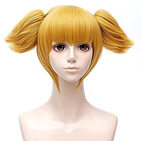 Peluca de disfraz de FALAMKA de oro rubio corto con bandera para mujer, peluca de