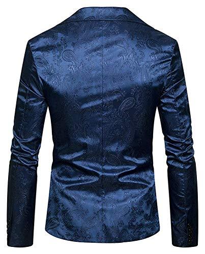 Blazer Lumineuses Avec Vêtements D'affaires Revers Veste Motif Hommes À Marine Vestes Mariage Manches Robe De Longues Jacquard Paisley Des Casual Costume p017qBw