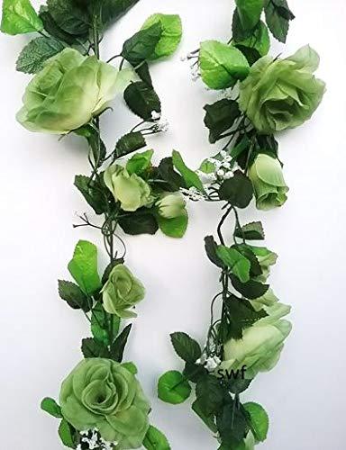 (6' Open Rose Garland Artificial Silk Wedding Bridal Flowers Home Decor (Seafoam))