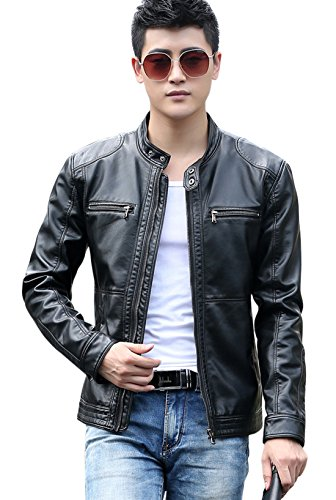 Collar Zip Front Leather Jacket - 2