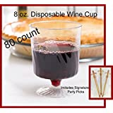 80 Count Disposable Wine Glasses 8 oz Plastic Clear Heavyweight 1-Piece Upscale