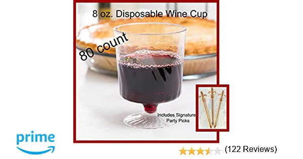 amazoncom 80 count disposable wine glasses 8 oz plastic clear heavyweight 1piece upscale kitchen u0026 dining