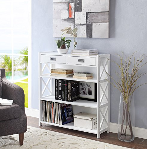 None White Finish 4-tier X-Design Freestanding Bookcase Bookshelf Display Shelf Units Storage Shoe Rack with Two (Mdf Wide Bookcase)