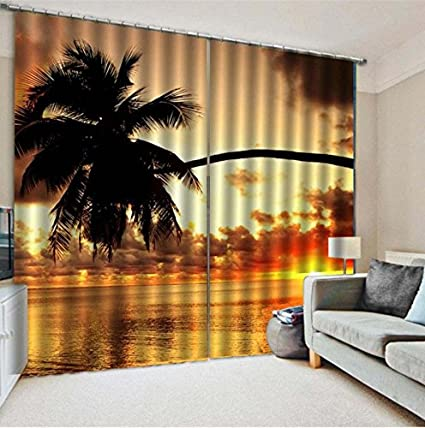 Fesselnd Wapel 3D Blackout Vorhänge Seaside Sonnenuntergang Landschaft Verdunkelungs  Vorhänge High End Benutzerdefinierte Freizeit Veranstaltungsorte Vorhänge