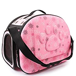 Pet Travel Carrier, PYRUS Comfort EVA Portable Foldable Pet Bag Airline Approved Travel Tote Soft Bag for Dogs Cat and other Pets (Pink)