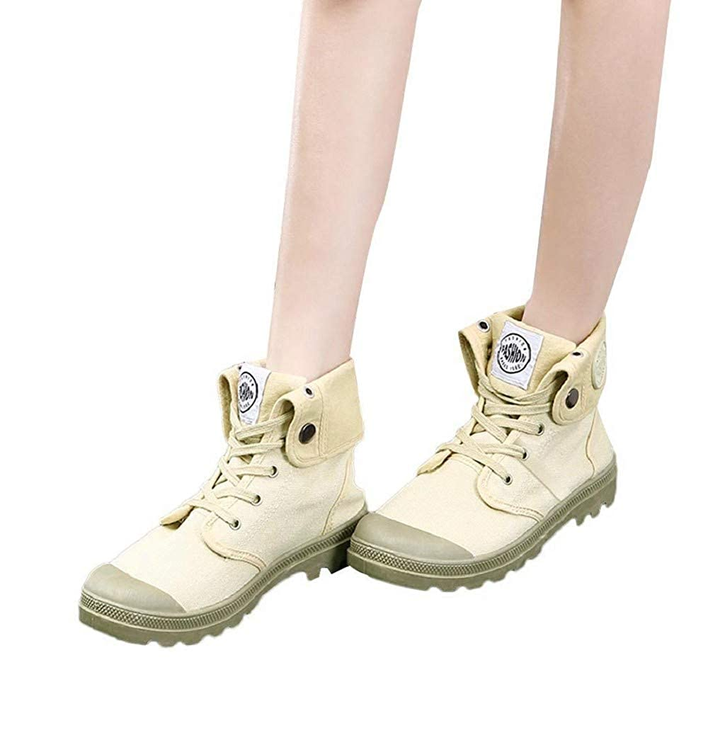 Women Canvas Shoes Boots,Ladies High-top Lace-up Sneakers Waterproof Arch Support Outdoor Slip On Ankle Boots Sopzxclim