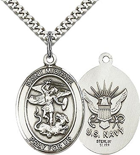 - Sterling Silver Saint Michael Navy Military Medal Pendant, 1 Inch