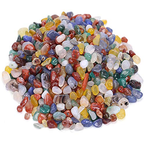 favoramulet Rainbow Agate Tumbled Stone Chips, Polished Crushed Healing Crystal Quartz Pieces Vase Filler 1 LB