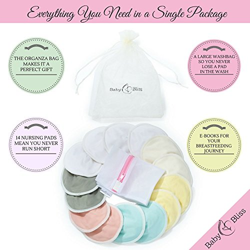 BabyBliss Washable Nursing Pads| Pack Of 14+3 Bonus Items| With 3 Size Variants l Reusable| Soft & Super absorbent | Leak-proof | With Laundry & Organza Bags | Perfect Baby Shower Gift by BabyBliss (Image #1)'