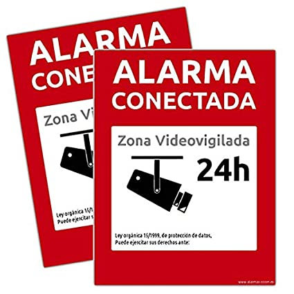 alarmaszoom Carteles RIGIDOS Pegatinas Vinilo DE Cartel Alarma CONECTADA DISUASORIOS Zona VIGILADA 24H Camara