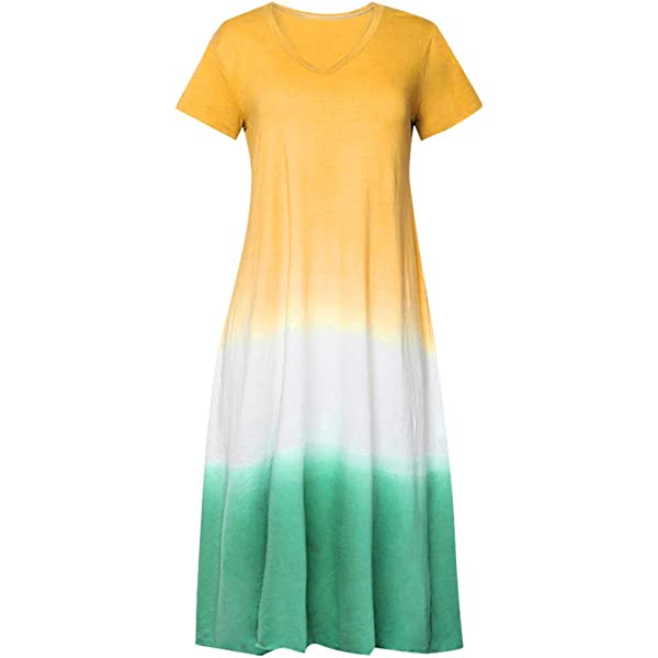 SMILEQ Vestido de Las Mujeres Tallas Grandes Tie-Dye Color Bloque Falda Vintage Suelta Cuello en V Manga Corta Borla Maxi Sundress