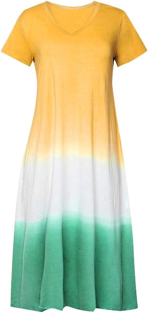 Vestido Largo para Mujer Tallas Grandes Tie-Dye Gradiente con ...