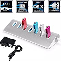 iMeshbean 7 Port Aluminum USB 3.0 HUB 5Gbps High Speed +AC Power Adapter For PC Laptop Mac