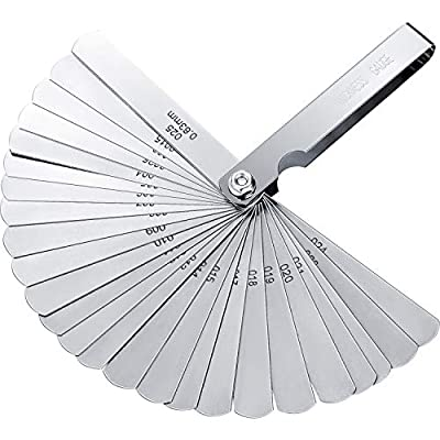 Stainless Steel Feeler Gauge Dual Marked Metric and Imperial Gap Measuring Tool (0.04-0.63 mm, 26 Blades): Home Improvement