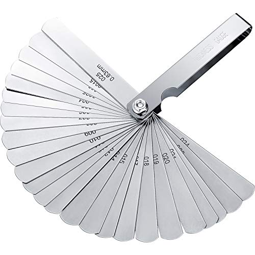 Hotop Stainless Steel Feeler Gauge Dual Marked Metric and Imperial Gap Measuring Tool (0.04-0.63 mm, 26 Blades) ()