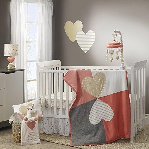 (Lambs & Ivy Dawn Cotton Jersey Pink/Gray/Gold Heart 4-Piece Baby Crib Bedding Set - Girl )